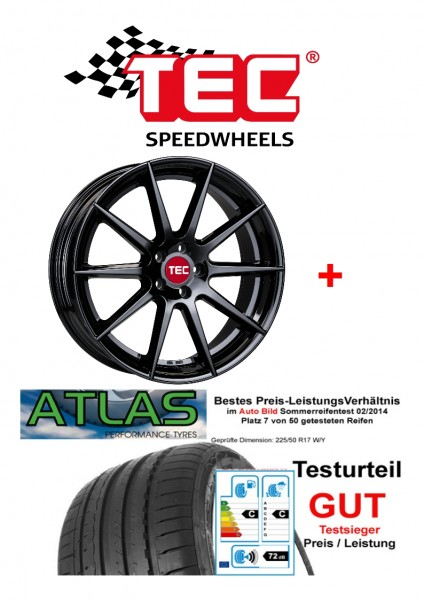 "TEC GT7 in 19"" + 225/35 Sommerreifen Audi A3 S3 8V Sportback Limo"