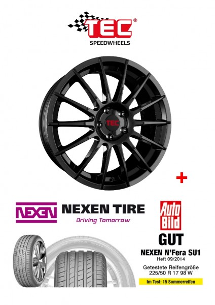 "TEC AS2 17"" + 205/40 Sommerreifen + RDKS Ford Fiesta JA8 JR8 ST"